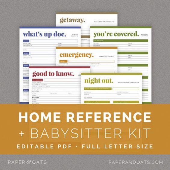 Home Reference Kit Editable Babysitter's Guide Emergency
