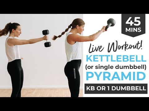 45-Minute KETTLEBELL WORKOUT (or Single Dumbbell Workout) | Full Body Pyramid, No Jumping