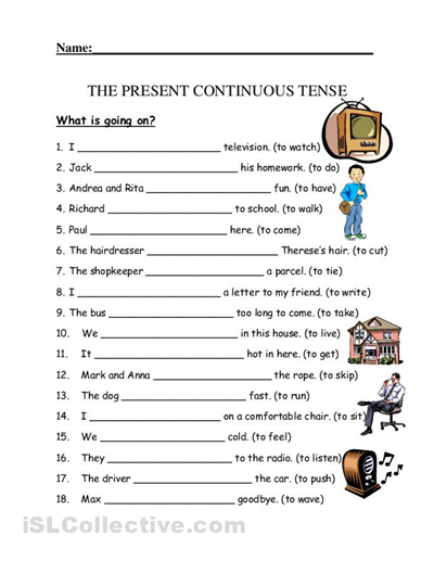 present simple or present continuous exercises for kids pdf ...