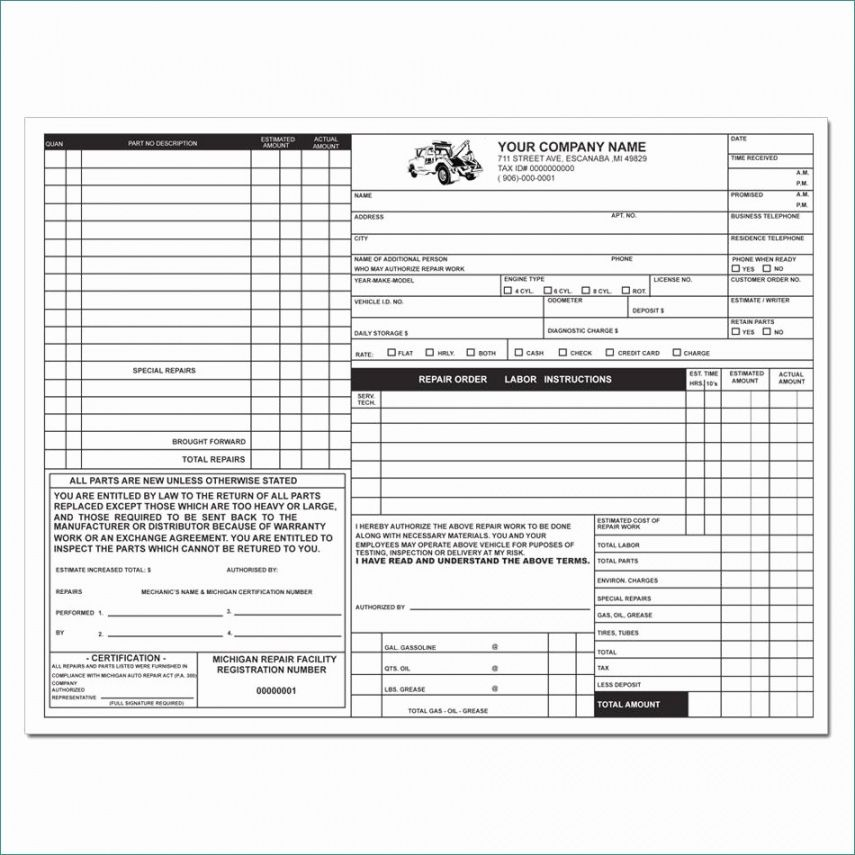 Auto Service Receipt Template Invoice template