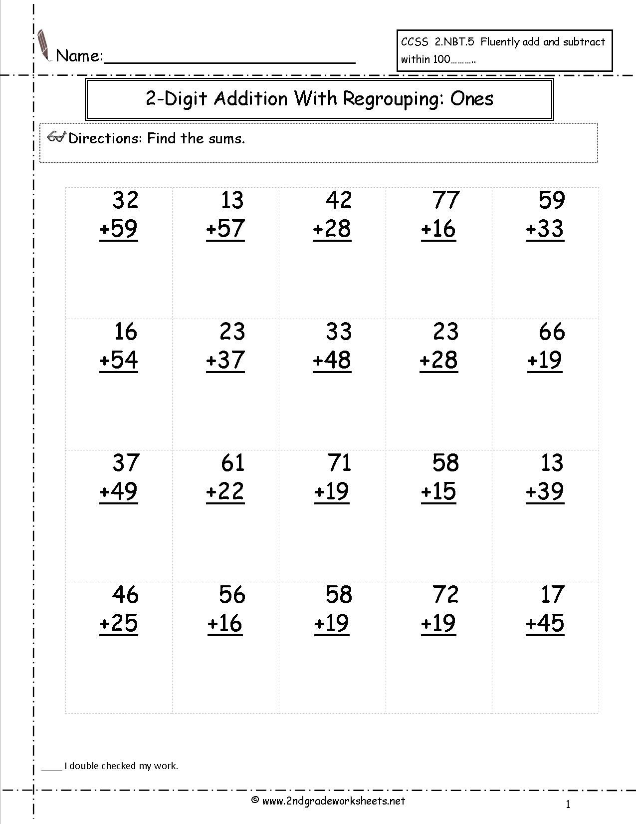 Two Digit Addition With Regrouping Ones To Tens Place Worksheet