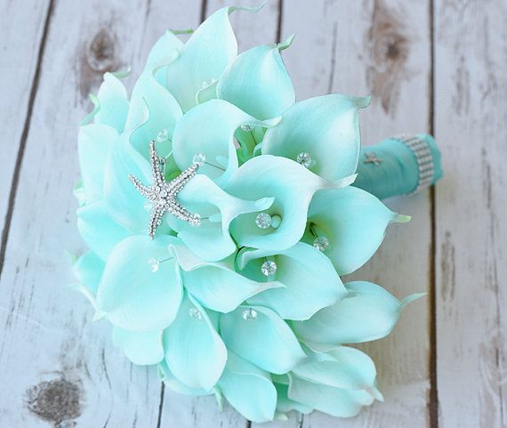 Silk flower wedding bouquet turquoise mint teal starfish calla silk flower wedding bouquet turquoise mint teal starfish calla lilies natural touch with crystals brooch mightylinksfo