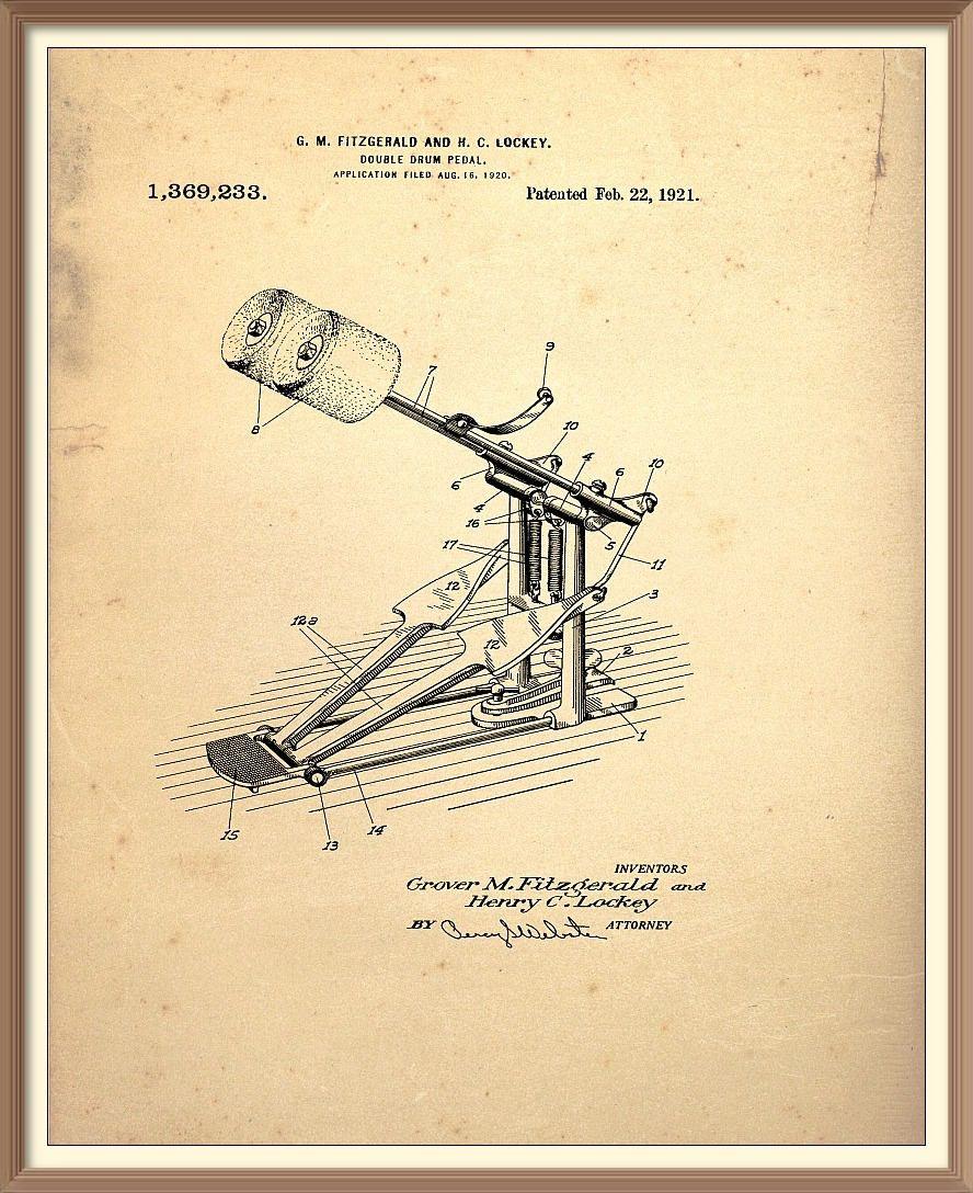 Vintage Bass Drum Double Pedal Patent Print - 1921 Set on a vintage ...