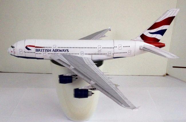 British Airways Airbus A380 800 Free Airplane Paper Model