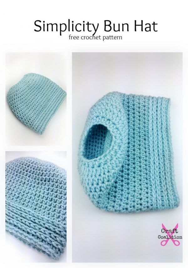 This easy crochet bun hat features easy crochet stitches for a quick ...