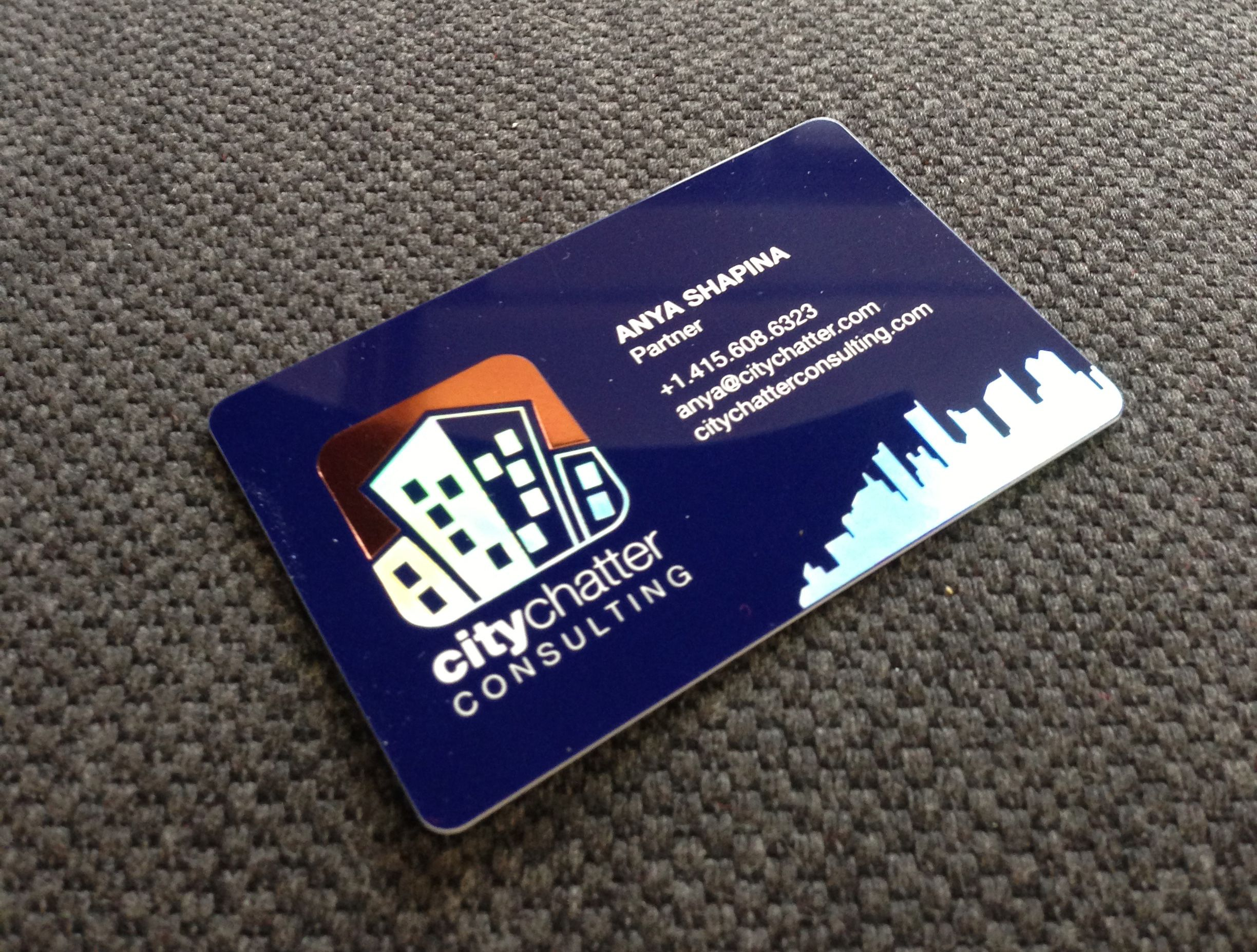 custom glossy navy blue plastic card with metallic copper pigment