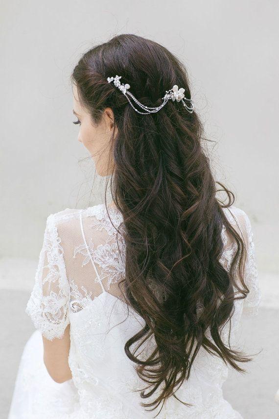 wedding headpiece bridal hair chain wedding hair comb bridal hair swag freshwater pearl hair piece swarovski crystal headpiece in 2018 c r o w n