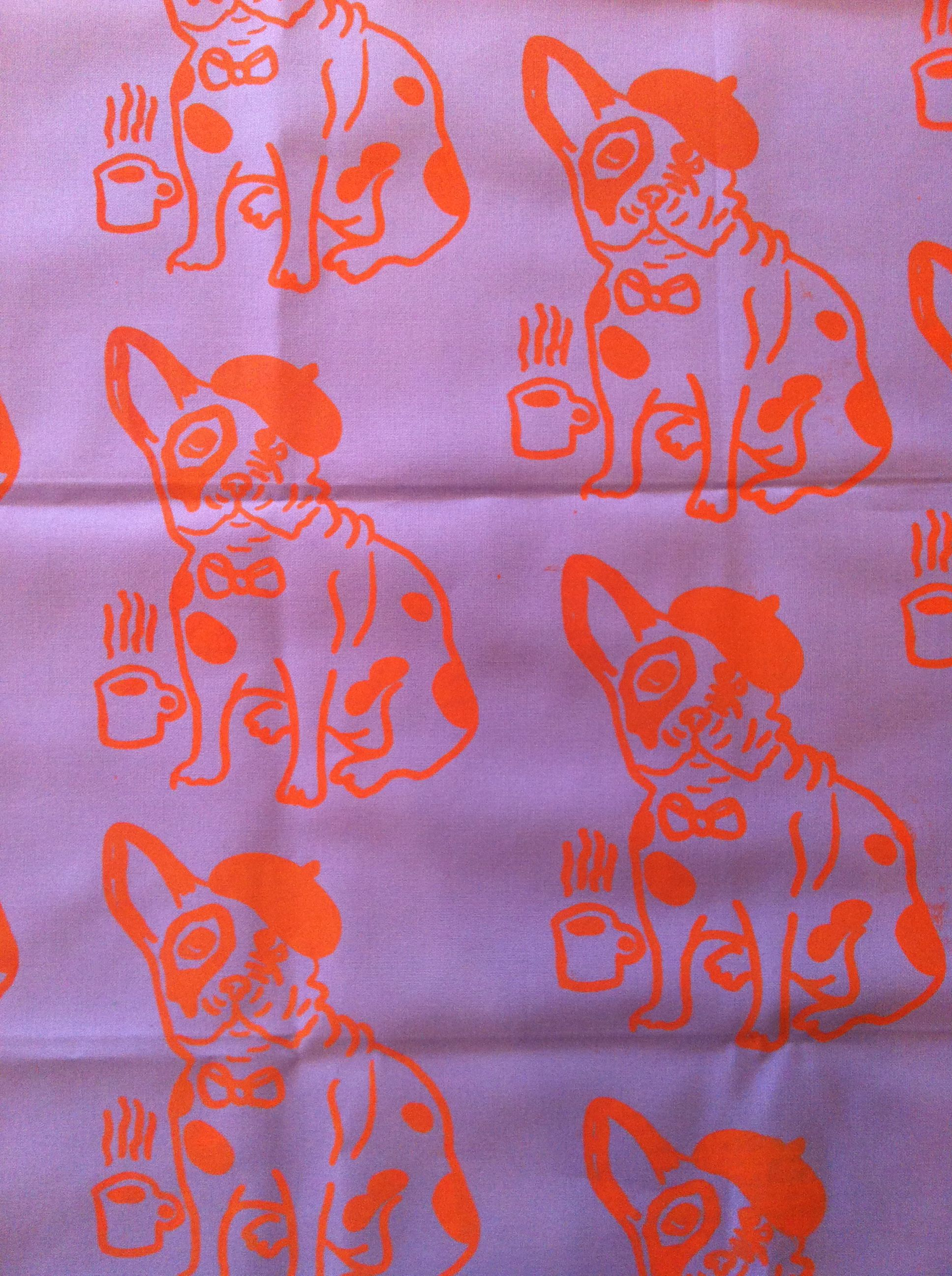 Fabric I screen-printed myself. I drew the design thinking of the little French bulldogs I walk.