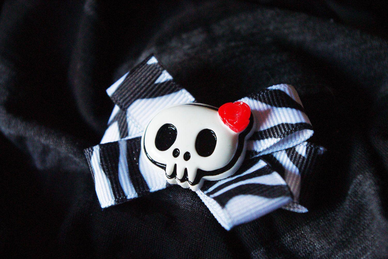 Zebra Print Skull With Red Rose Hair Bow Clip Rockabilly Emo Barbie Kawaii Anime Raver Cyber Kid Kids Hair Accessories Handmade Hair Accessories Bow Hair Clips