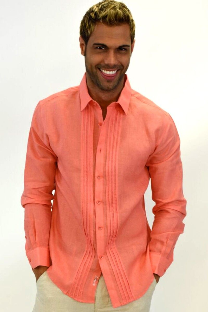 Mens 100 Pure Linen Long Sleeved Tucked Shirt In 3 Colors Mls106 P2 Salmon Ropa De Hombre Moda Hombre Camisas Hombre