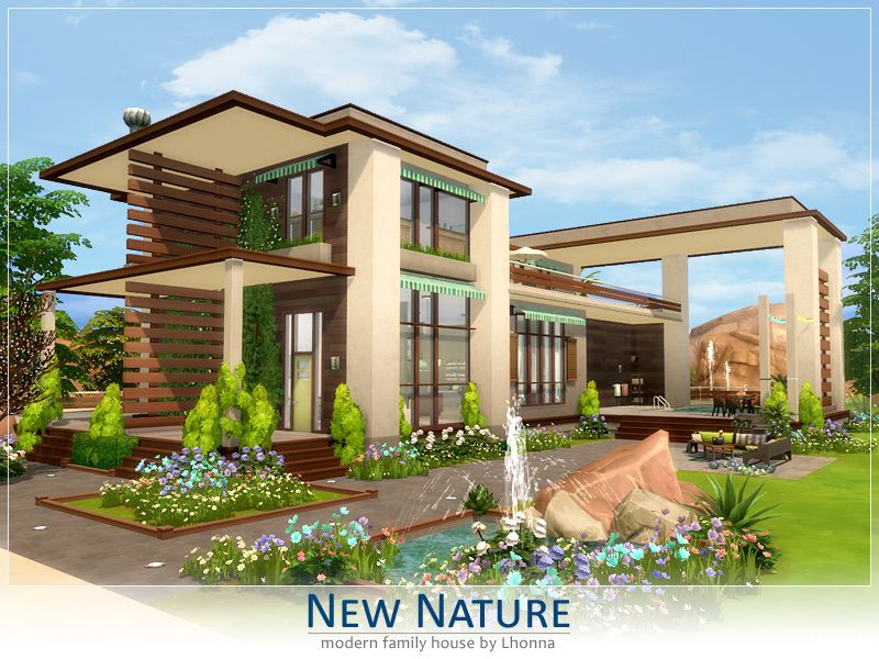 New Nature Is Modern Large House For A Family Big Garden With Pool Outside And Huge Bedrooms Inside Is All Wha House In Nature Sims 4 Modern House Sims House