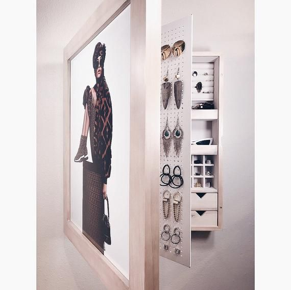 Natural Wood Picture Frame Wall Mounted Jewelry Organizer Wall Mount Jewelry Organizer Frames On Wall Picture Frame Wall