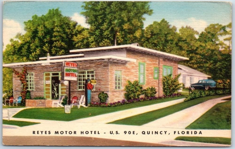 Details About Quincy Florida Postcard Reyes Motor Hotel Route 90 Roadside Linen C1950s
