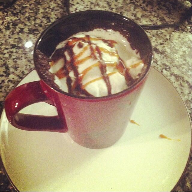 Chocolate lava cake in a mug, the recipe i got this from ...
