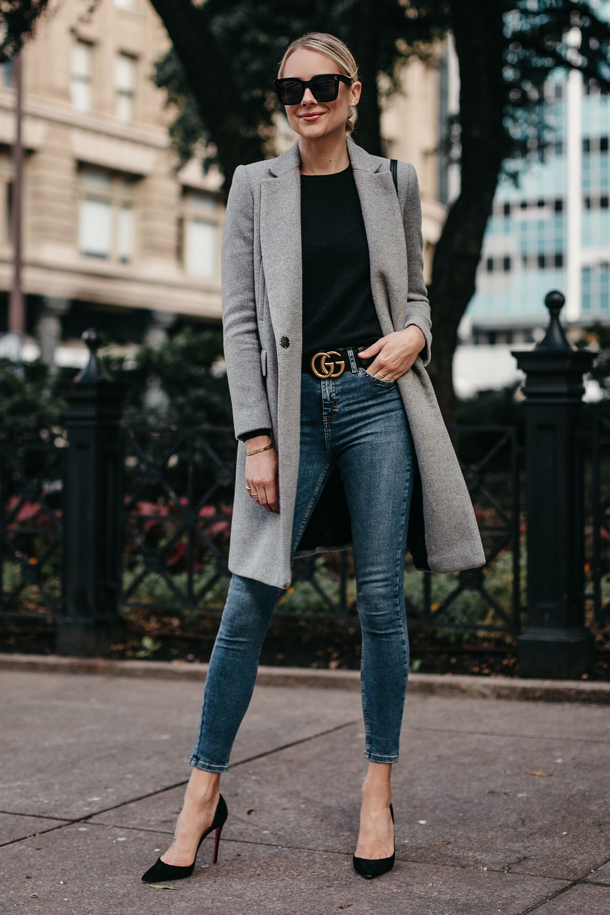 1d47e9470c Blonde Woman Wearing Zara Grey Wool Coat Black Sweater Denim Skinny Jeans  Gucci Marmont Belt Christian Louboutin Black Pumps Fashion Jackson Dallas  Blogger ...