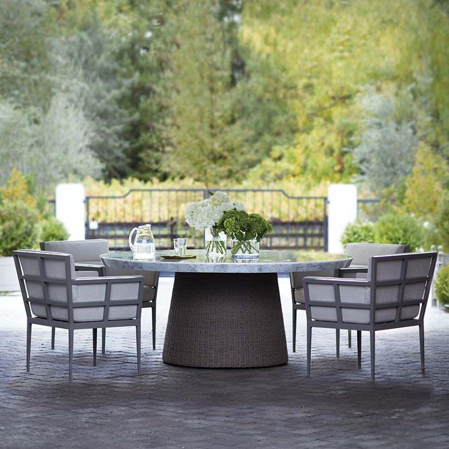 Slant Strada Janus Et Cie Round Outdoor Dining Table Stone