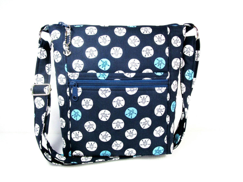 Navy Blue Sand Dollars Handmade Fabric Purse 7 Pockets Cross Body Handbag By Darlingsdesigns On Etsy Darlings Designs Purses Pinterest