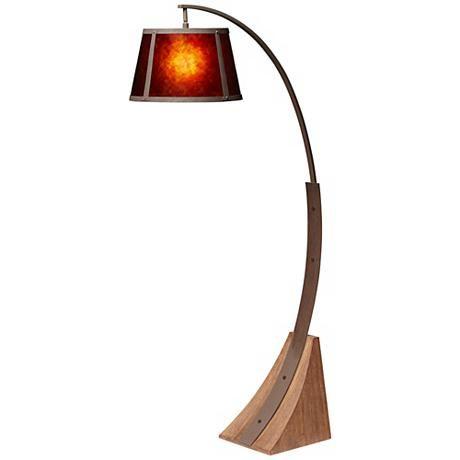 Oak River Arc Mica Shade Dark Rust Floor Lamp