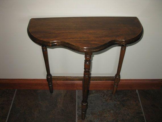 Vintage Half Moon Side Table 3 Legged Table By Oakiesclaptrap