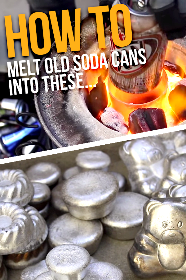 How to melt soda cans in a diy foundry while turning for Aluminum can decorations