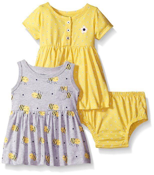 6c409a261367 Gerber Baby Three-Piece Dress and Diaper Cover Set