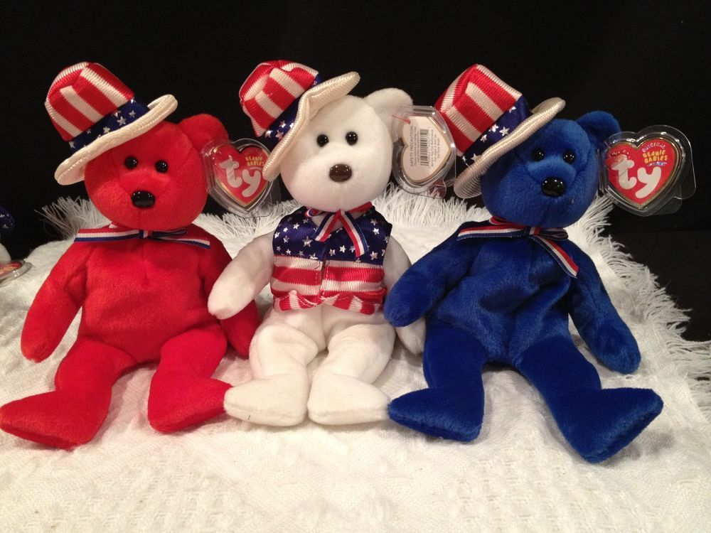 d5a77c64ed3 Ty BEANIE BABIES BEARS ~ LOT OF 3~ SAM - RED - WHITE - BLUE - American USA~  MINT  TyBeanieBaby