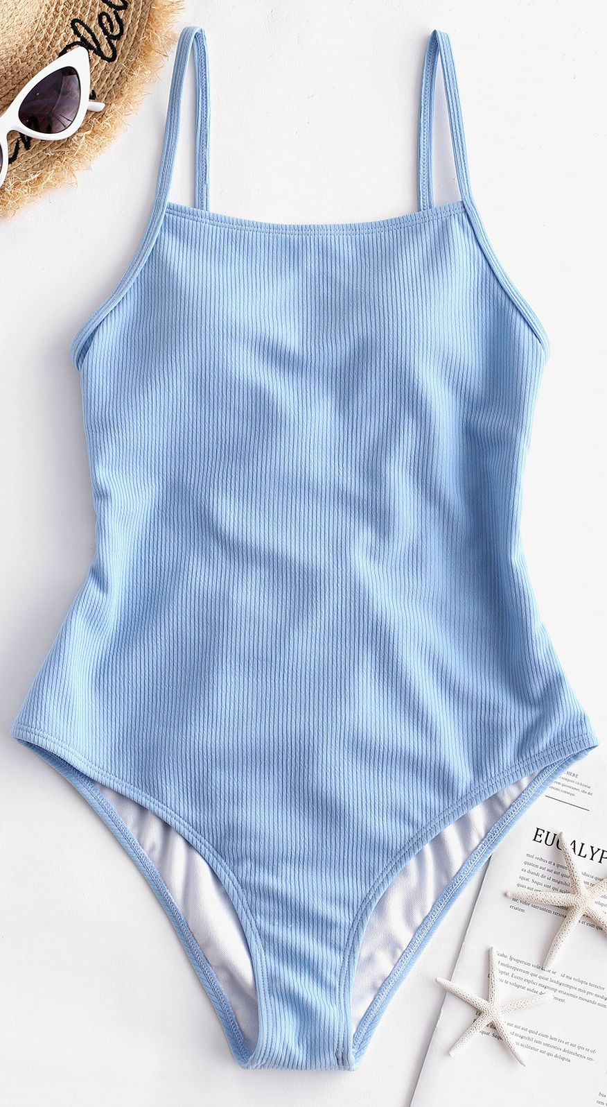 Ribbed Lace Up One-piece Swimsuit DAY SKY BLUE RED WINE