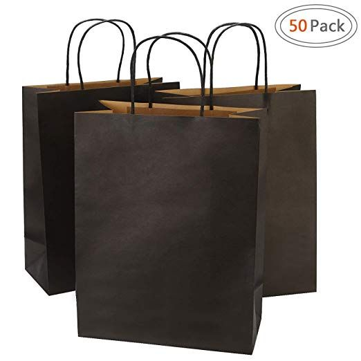 Gift Bags Mechandise Party 10x5x13-50 Pcs Brown Kraft Paper Bags Shopping