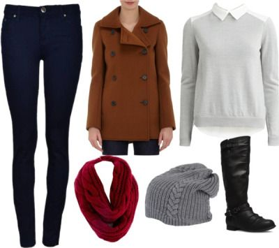 Gwen Stacy Casual Outfit With Pants by lauloxx featuring a brown peacoatVILA button blouse, $67 / Derek Lam brown peacoat / Skinny leg jeans / Wet Seal tall riding boots / Suoli gray beanie hat, $54
