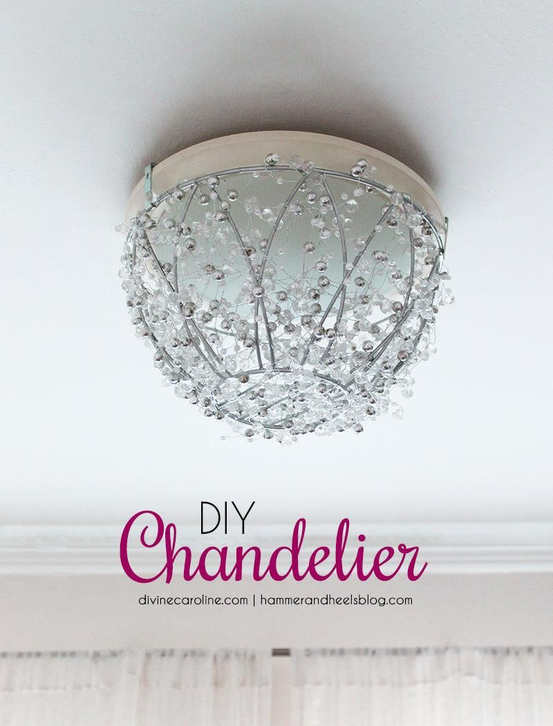 How to make a diy chandelier in an hour pinterest diy chandelier update your old light fixture with this pretty and easy diy chandelier it adds a dose of glam to any room without any rewiring required mozeypictures