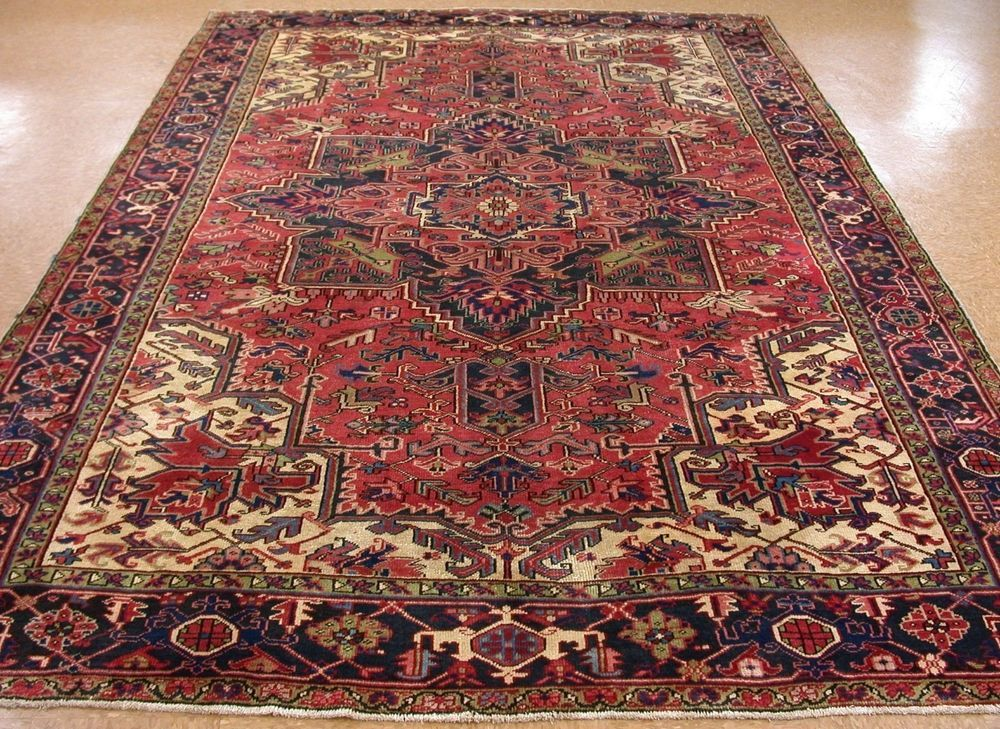 8 X 12 Antique Persian Heriz Tribal Hand Knotted Wool Red Navy Oriental Rug Persianheriztribalgeometric