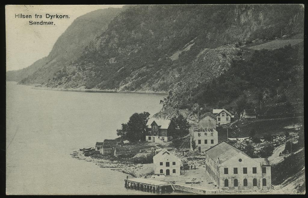 Møre og Romsdal fylke Stordal kommune Dyrkorn Søndmør Sunnmøre DYRKORN. Oversikt med noe bygningsmasse ved fjorden Poststpl 1918