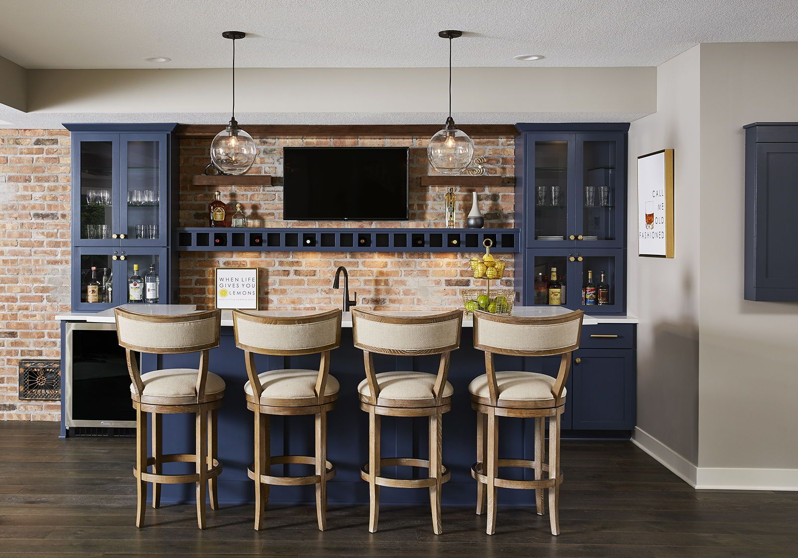 Industrial Style Home Basement Bar with stunning navy blue ...