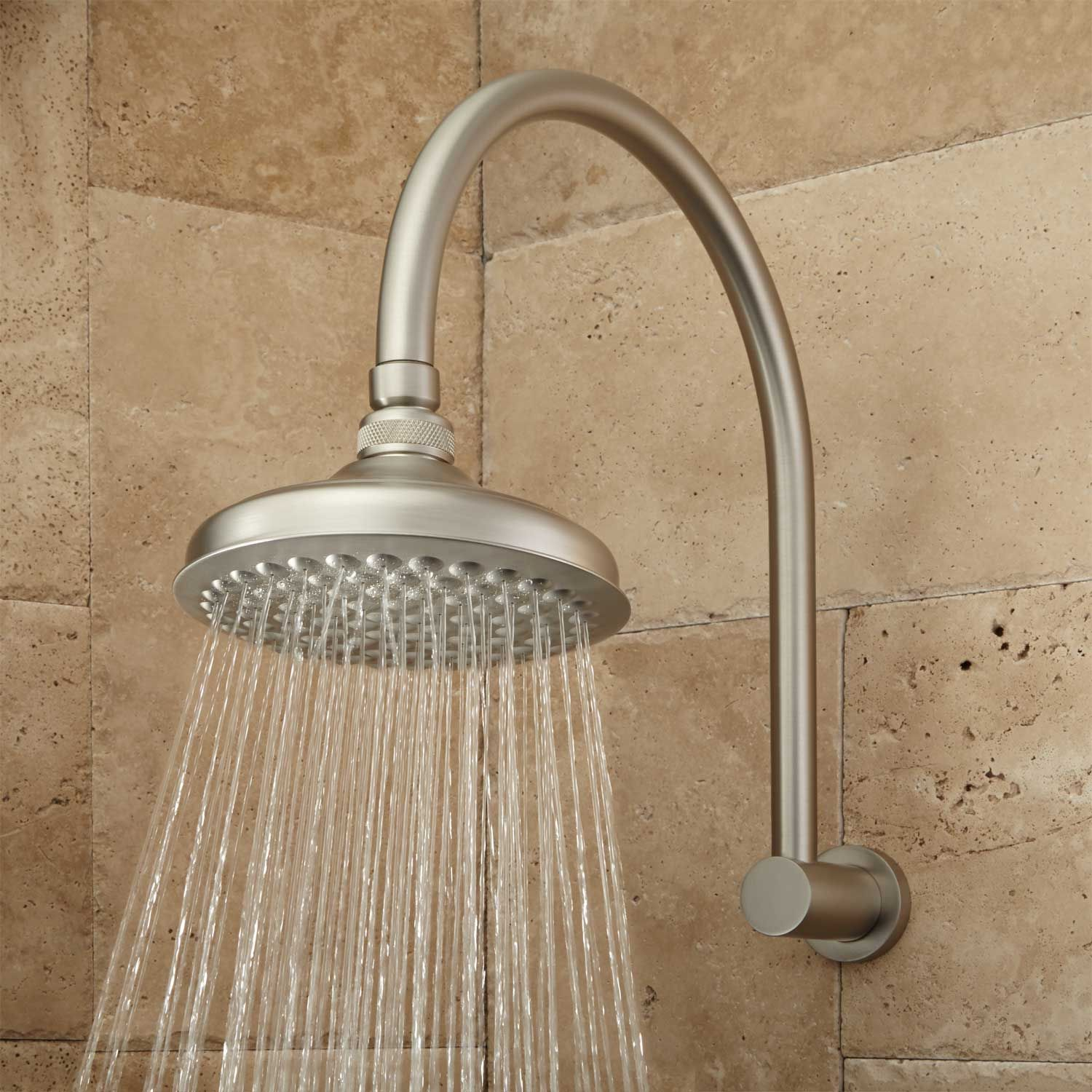 Roux Rainfall Shower Head With Modern Arm In Brushed Nickel