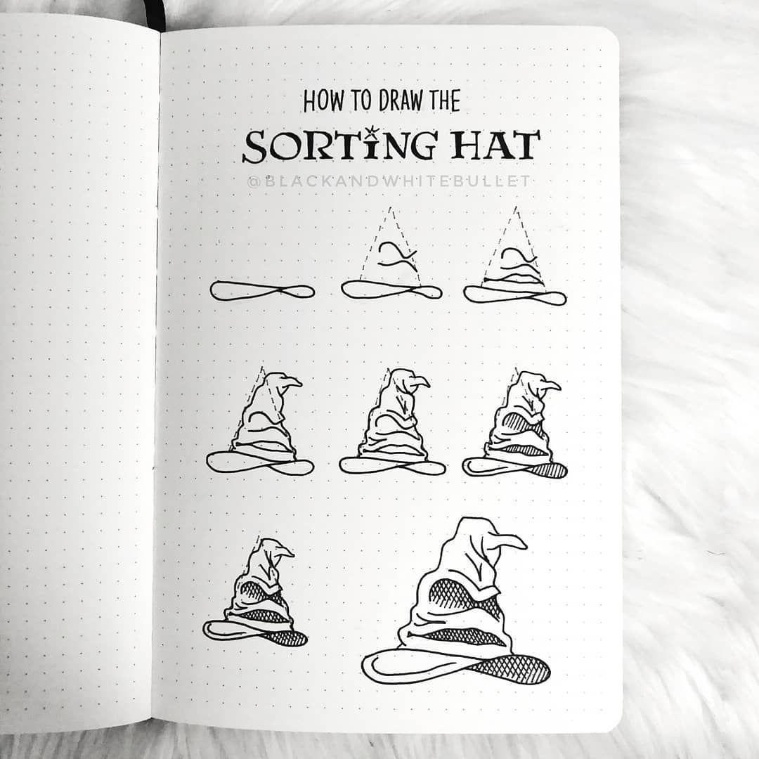 Stepbystep Instagram Tutorial Shanise Sorting Potter Since Black While Harry White Draw From Mad Journaling Ideen Schreibideen Zeichnen Anleitung