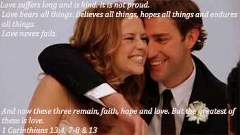 Jim And Pam Halpert The Office Love Suffers Long Is Kind It Is Not Proud Love Bears All Things Believes All The Office Jim The Office Show Pam The Office