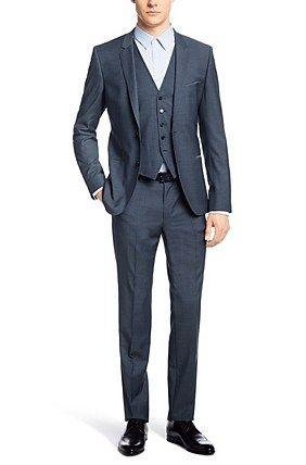 Extra Slim Fit Anzug Mit Weste Armento Wian Hawer Aus Schurwolle Blau Anzug Weste Slim Fit Anzuge Anzug