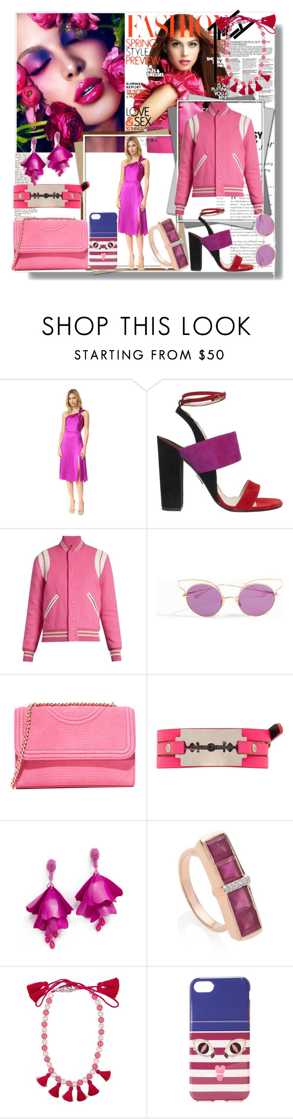 """Season's Hottest Pink Look!!"" by stylediva20 ❤ liked on Polyvore featuring Cushnie Et Ochs, Paul Andrew, Yves Saint Laurent, Dita, Tory Burch, McQ by Alexander McQueen, Oscar de la Renta, Monica Vinader, Shourouk and Iphoria"