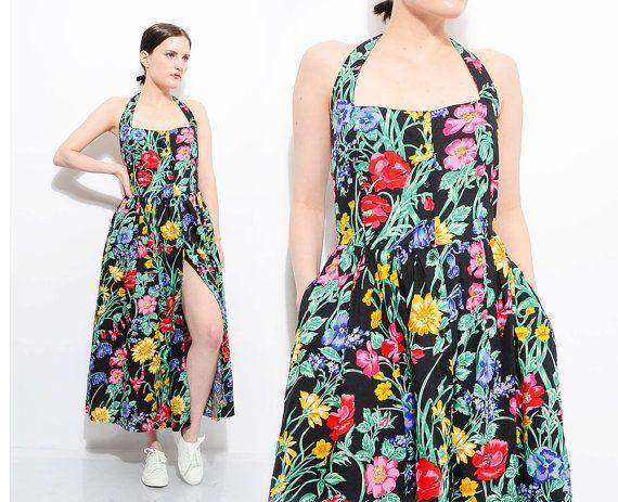 cec3c1cee21 Vintage 80s does 50s Black Floral Sundress Halter Neck Retro Rockabilly Full  Skirt Button Up Cotton Midi by SHOPPOMPOMVINTAGE