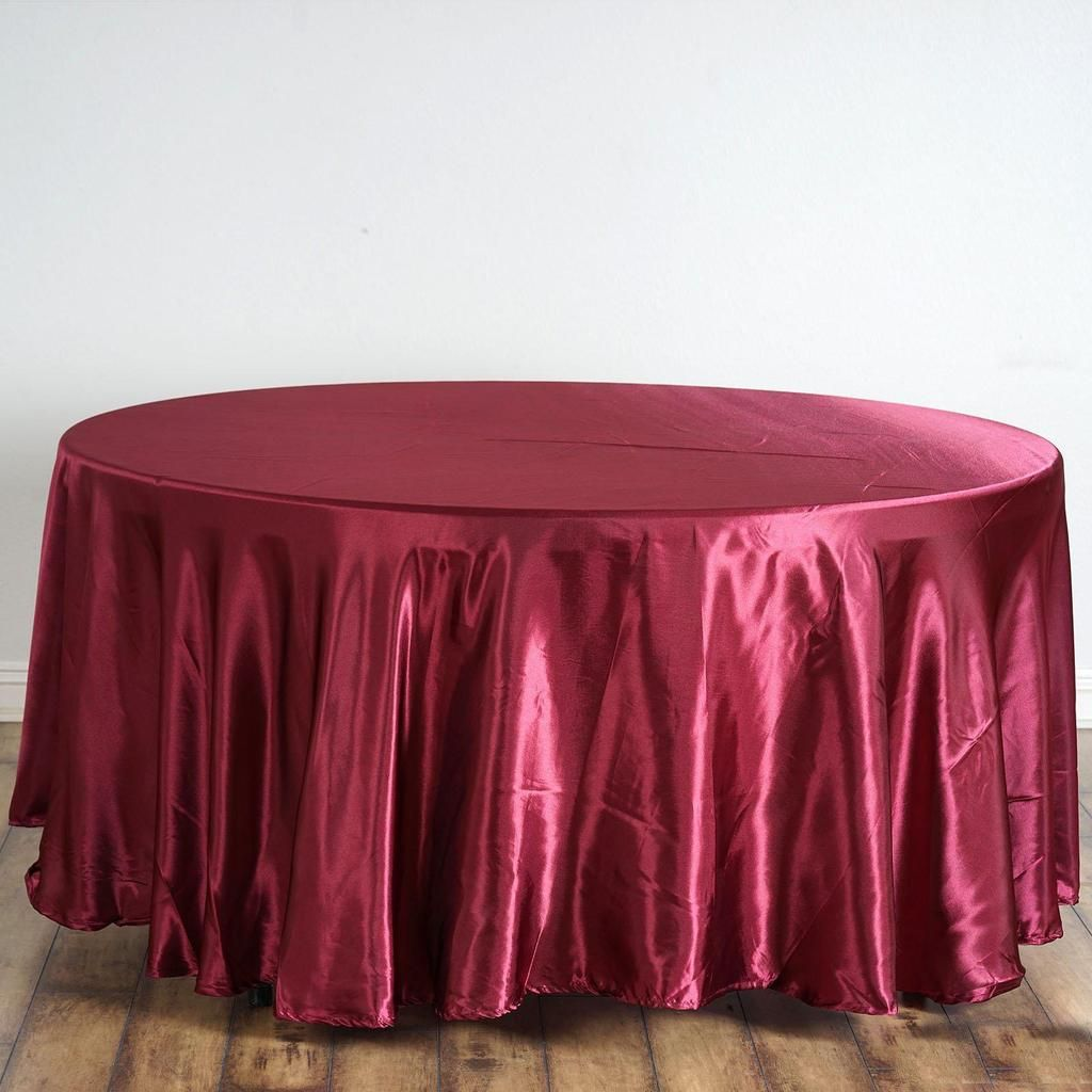 120 Burgundy Satin Round Tablecloth Round Tablecloth Party Table Cloth Table Cloth