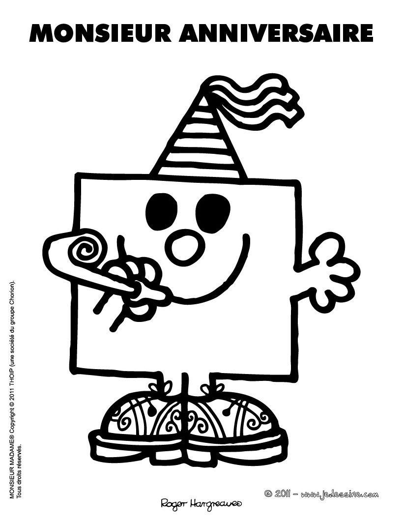 Coloriage en ligne monsieur anniversaire monsieur madame - Anniversaire coloriage ...
