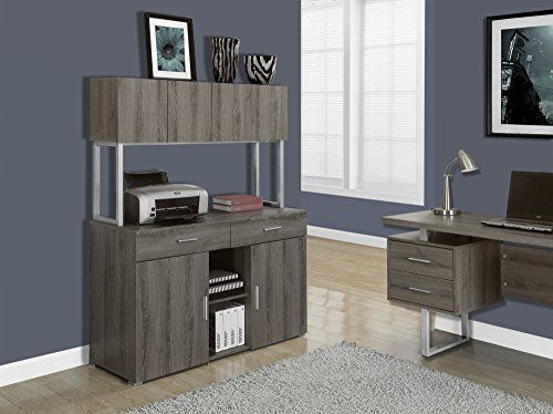 Monarch Specialties Dark Taupe Reclaimed-Look Office Storage