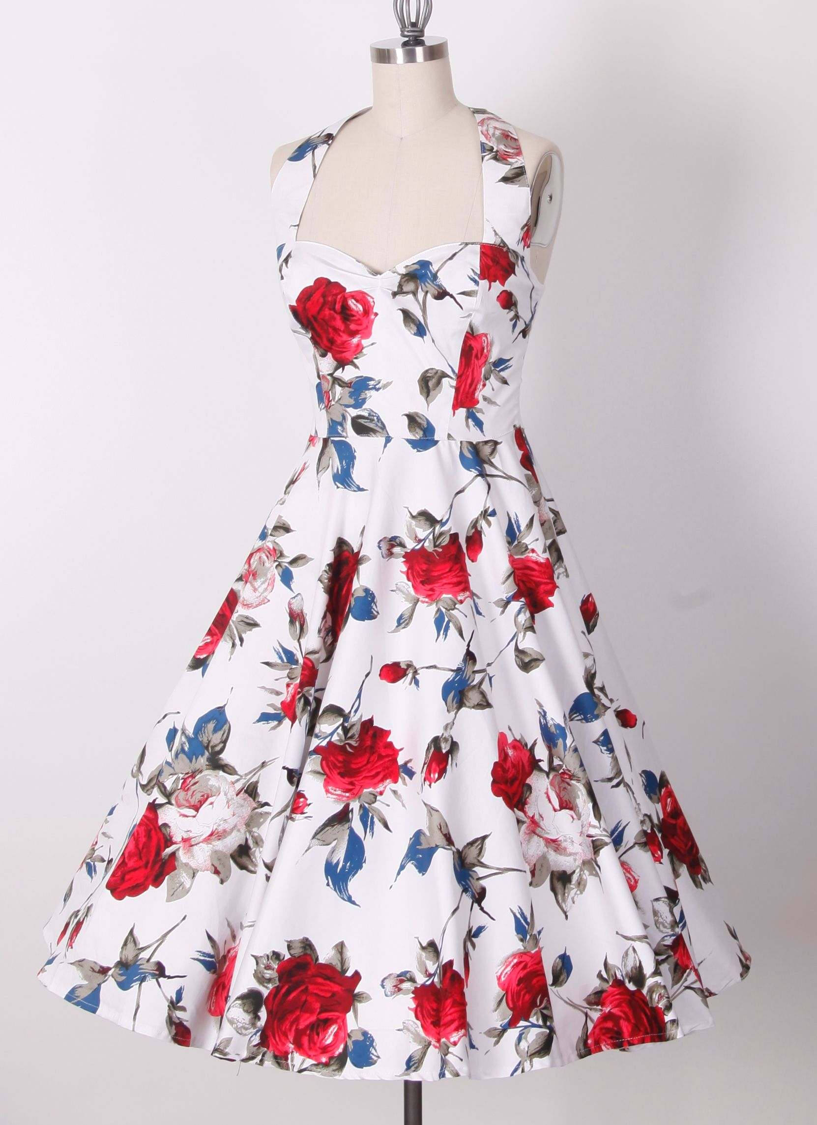 50s Halterneck Swing Pinup Retro Dress 20127242 20127242