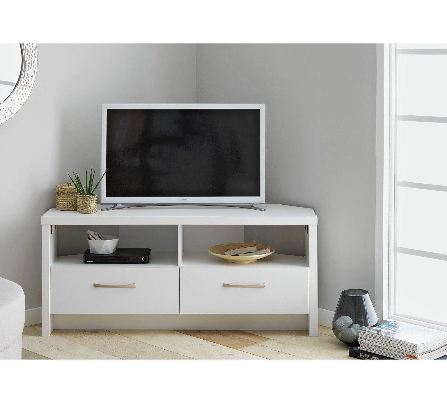new style fdf71 dd418 Home Venice 2 Drawer Large Corner TV Unit - White ...