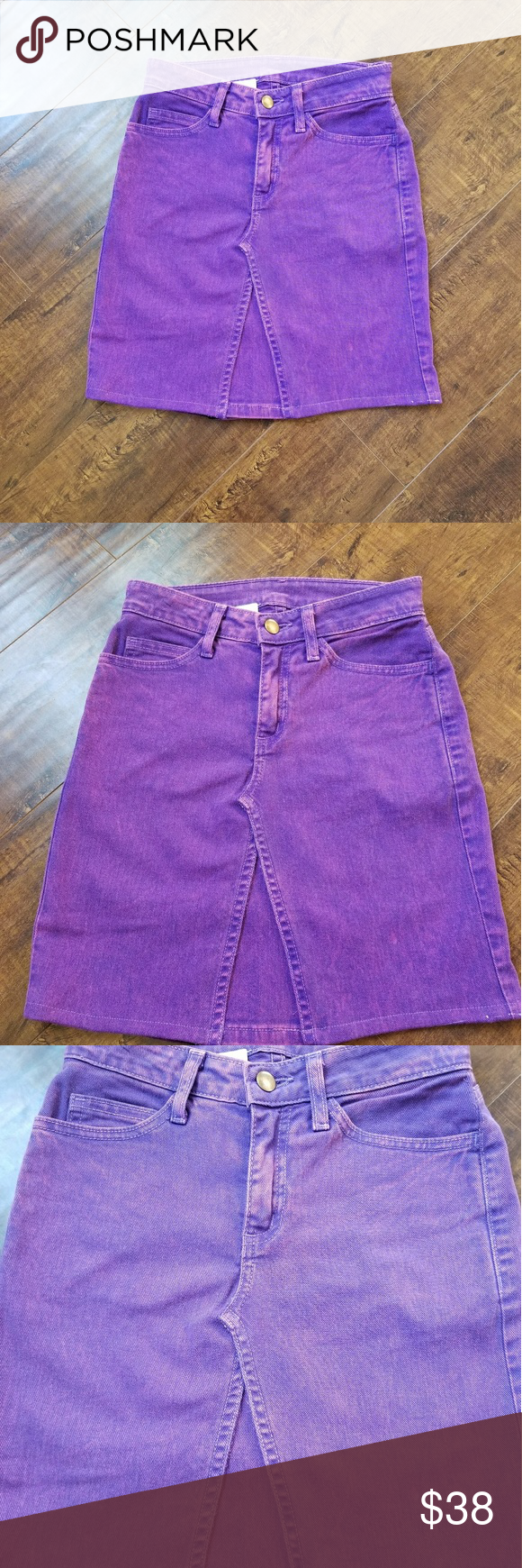 2fdfeb56c6 Vintage Purple Denim skirt •Vintage purple denim skirt •Made from upcycled  American Apparel denim jeans •Sizes 25 waist/ XS •Fitted and stretchy denim  ...