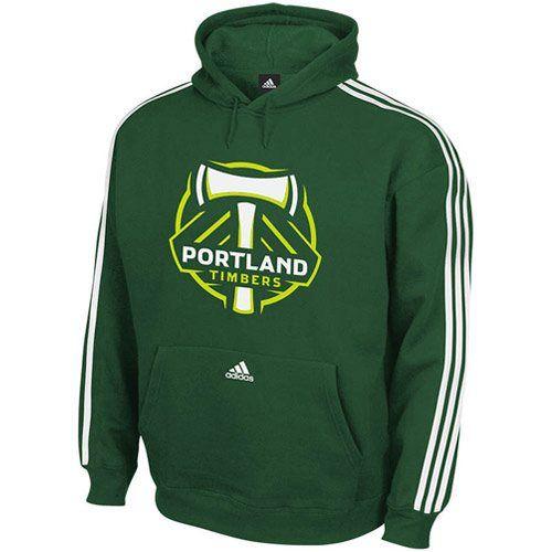 adidas Portland Timbers Three Stripe Pullover Hoodie Sweatshirt - Green 9d2b00abae46
