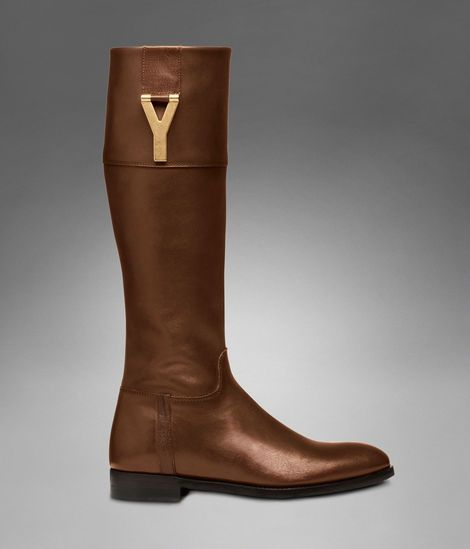 9db6de00482 Check out YSL Chyc Riding Boot in Brown Textured Leather at http://www