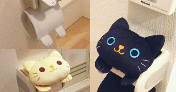 Liked On Pinterest Cat Toilet Paper Holder Roll Storage Cover Black Tiger Kitty