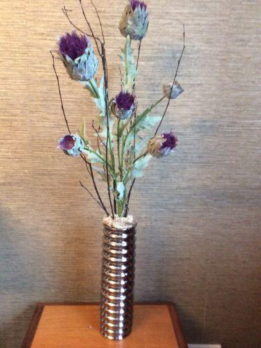 Artificial faux silk flower arrangement luxury scottish thistles in luxury artificial silk flower arrangement purple thistles in tall vase silkflowers flowerarrangement mightylinksfo