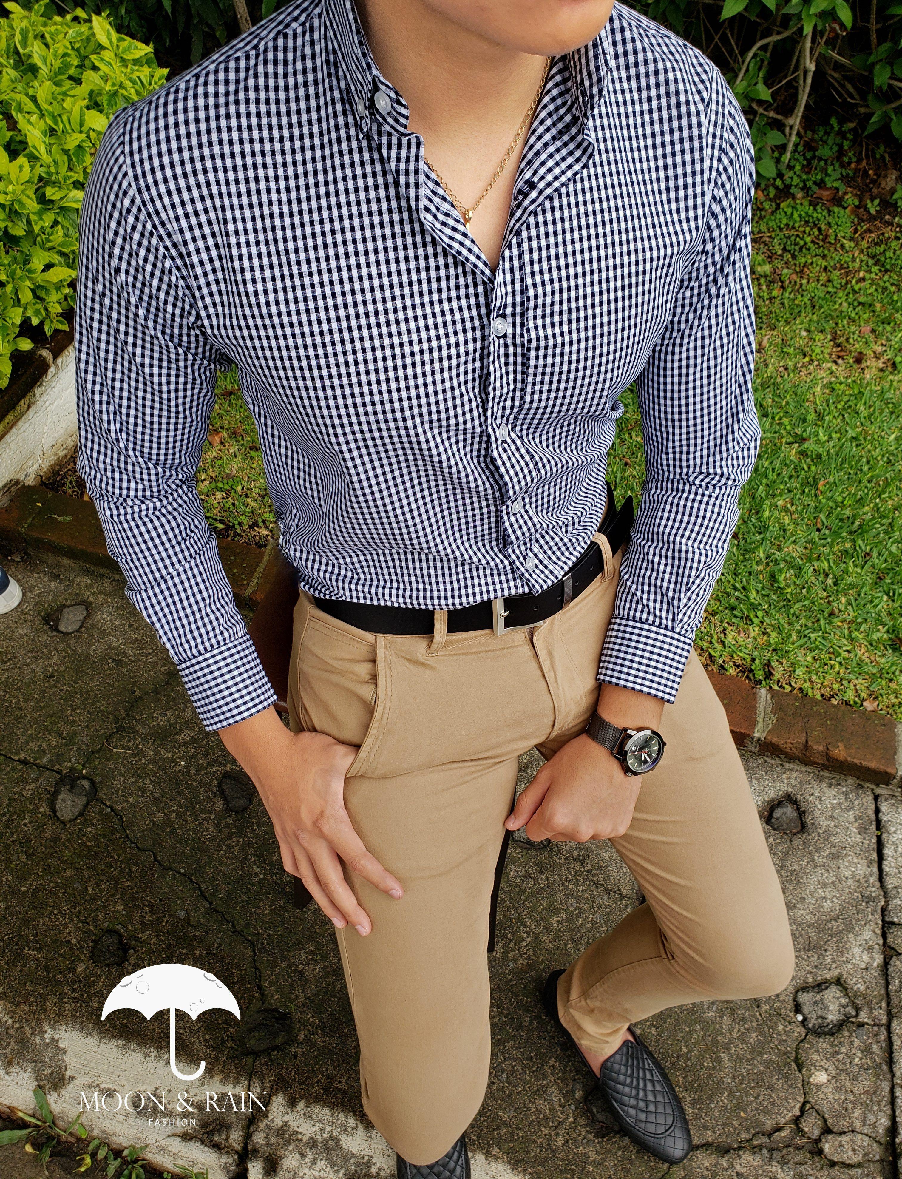 Outfit para hombre, camisa slim fit de cuadros, pantalón de